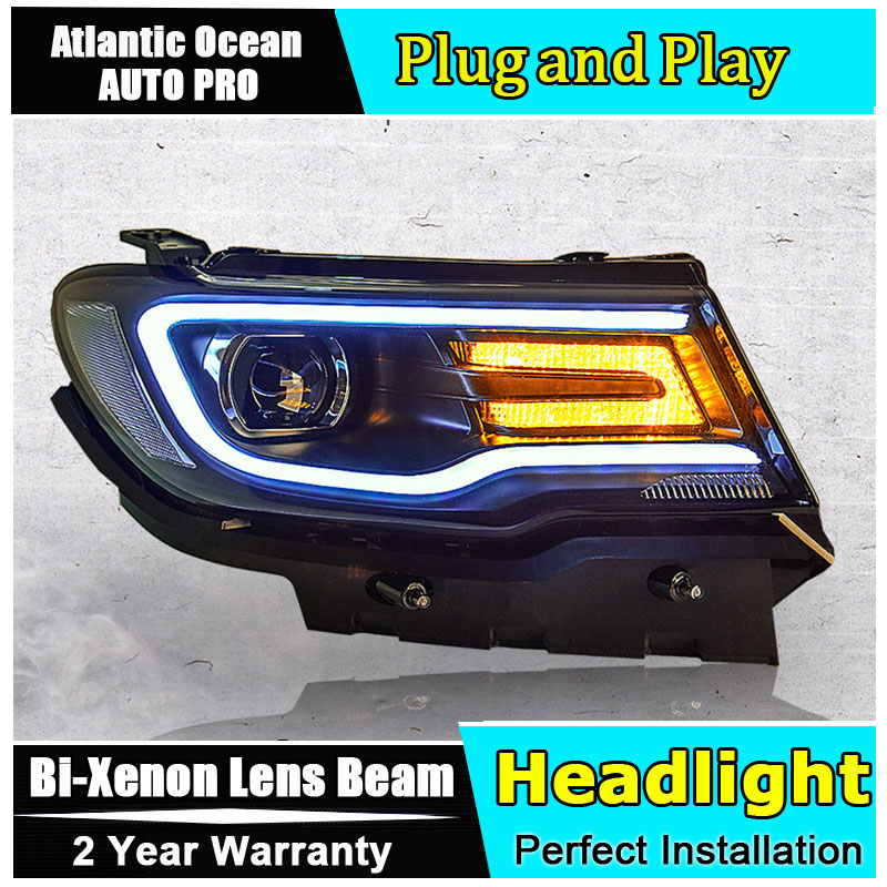 Car Styling for Jeep compass Headlights 2017-2018 for compass LED Head Lamps Lens Double Beam H7 HID Xenon bi xenon lens led drl auto part style led head lamp for porsche 997 series led headlights for 997 drl h7 hid bi xenon lens angel eye low beam