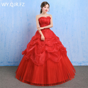 Image 1 - YC73#Lace up Bride s Wedding dress red Ball Gown wholesale cheap dresses New spring summer 2019 Floor Length