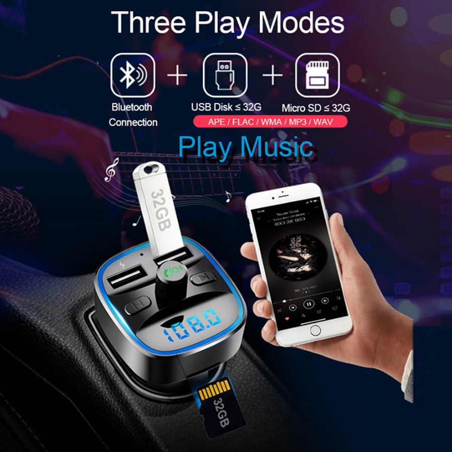 AGETUNR T25 Bluetooth 5.0 zestaw głośnomówiący samochodowy Mp3 odtwarzacz muzyczny FM nadajnik 2 ładowarka samochodowa USB U dysku TF karty bezstratny odtwarzacz muzyki