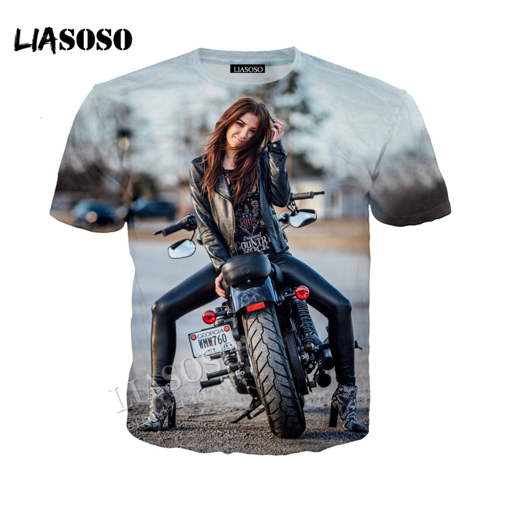 LIASOSO new simple neutral T-shirt locomotive style T shirt casual shirt racing motorcycle Tshirt 3D printing Tees CX021