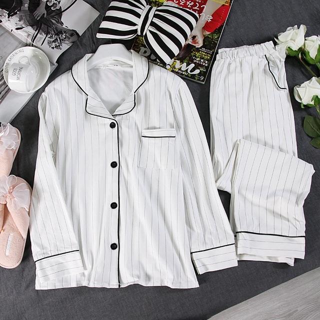 Women's Casual White Long Pajamas