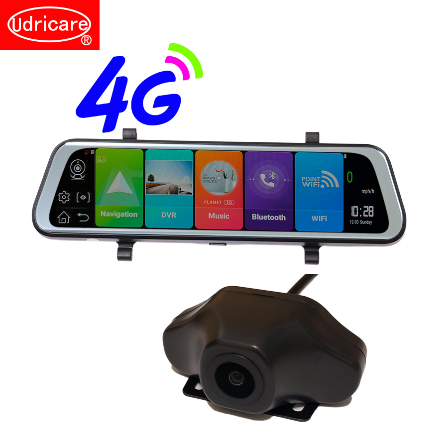 Udricare 10 дюймов ADAS Wi Fi Bluetooth gps 4 г сети HD 1080 P двойной объектив сзади камера поток видео регистраторы зеркало заднего вида DVR