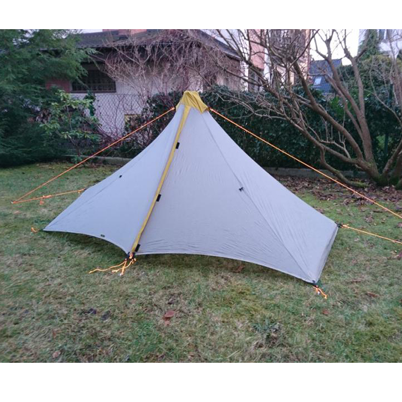 Ultralight 1 Person 410G Camping Tent Outdoor 20D Nylon Both Sides Silicon Coating Rodless Pyramid outdoor zelt 4 Season Tent 995g camping inner tent ultralight 3 4 person outdoor 20d nylon sides silicon coating rodless pyramid large tent campin 3 season