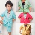 Горячая розничная детская одежда набор детские наборы короткие Хан издание мальчик брюки костюм пальто рубашка + брюки 2 шт. комплект одежды детей костюм 2-6Years