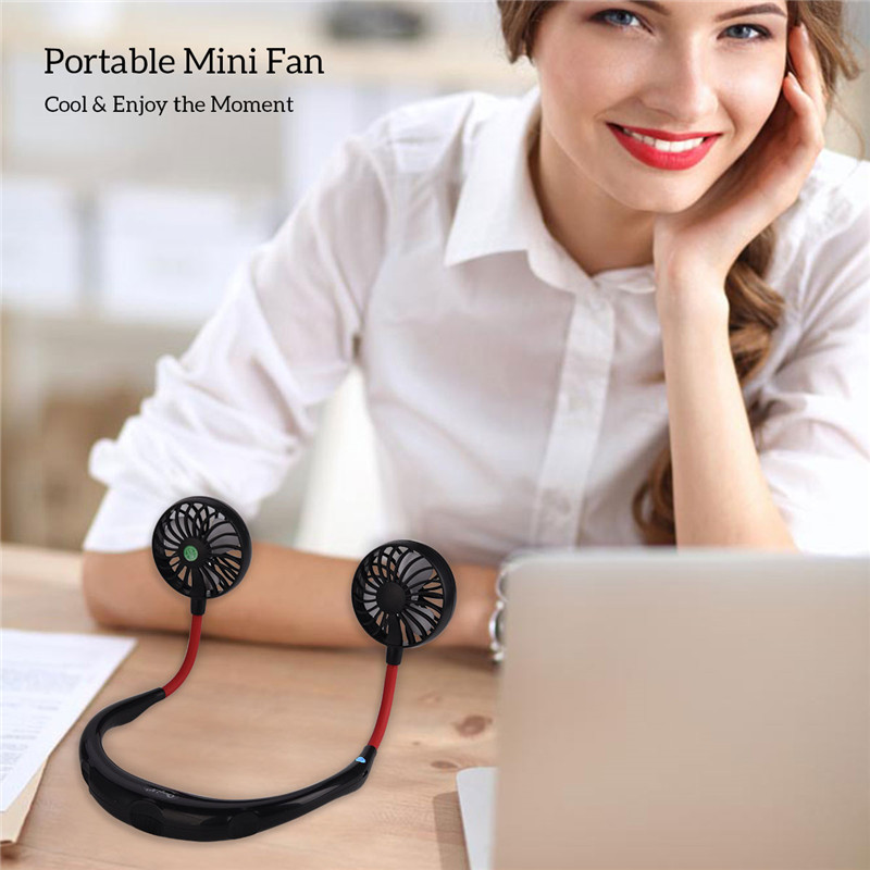 portable electric personal fan in headphone design with usb rechargeable battery