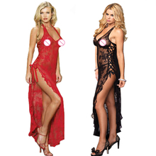 Plus Size Perspective Sexy Lingerie Set Women Lace Floral Sexy Costume Side Slite Backless Long Dress