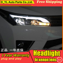 D-YL Car Styling for Toyota Corolla Headlights 2014 Corolla LED Headlight DRL Bi Xenon Lens High Low Beam Parking Fog Lamp
