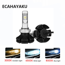 ECHAYALKU 1 set X3 series H1 H3 H4 H7 H11 9005 9006 Car LED Headlights Bulbs 50W 6000LM with ZES Chips Light Sourcing