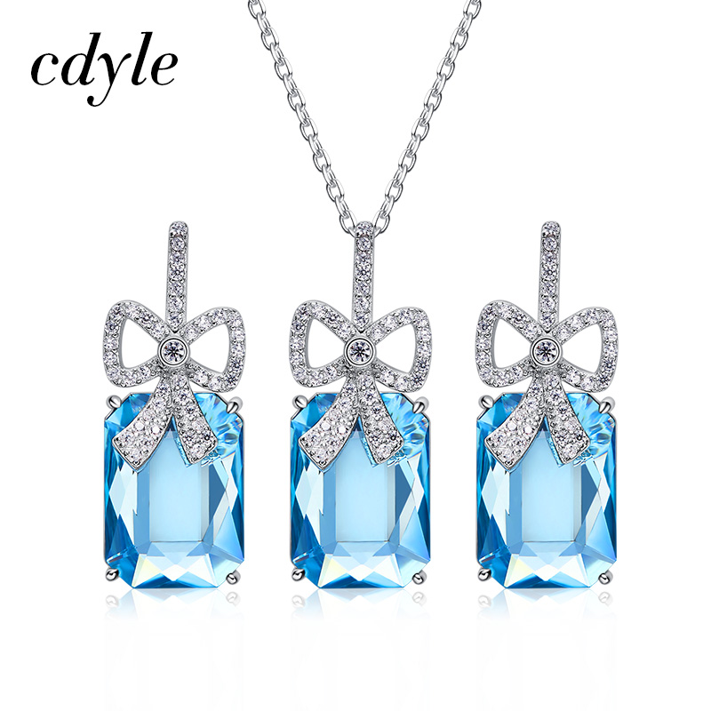 Cdyle Embellished with crystals For Women Gorgeous Party Jewelry 925 Sterling Silver Necklace&EarringsCdyle Embellished with crystals For Women Gorgeous Party Jewelry 925 Sterling Silver Necklace&Earrings