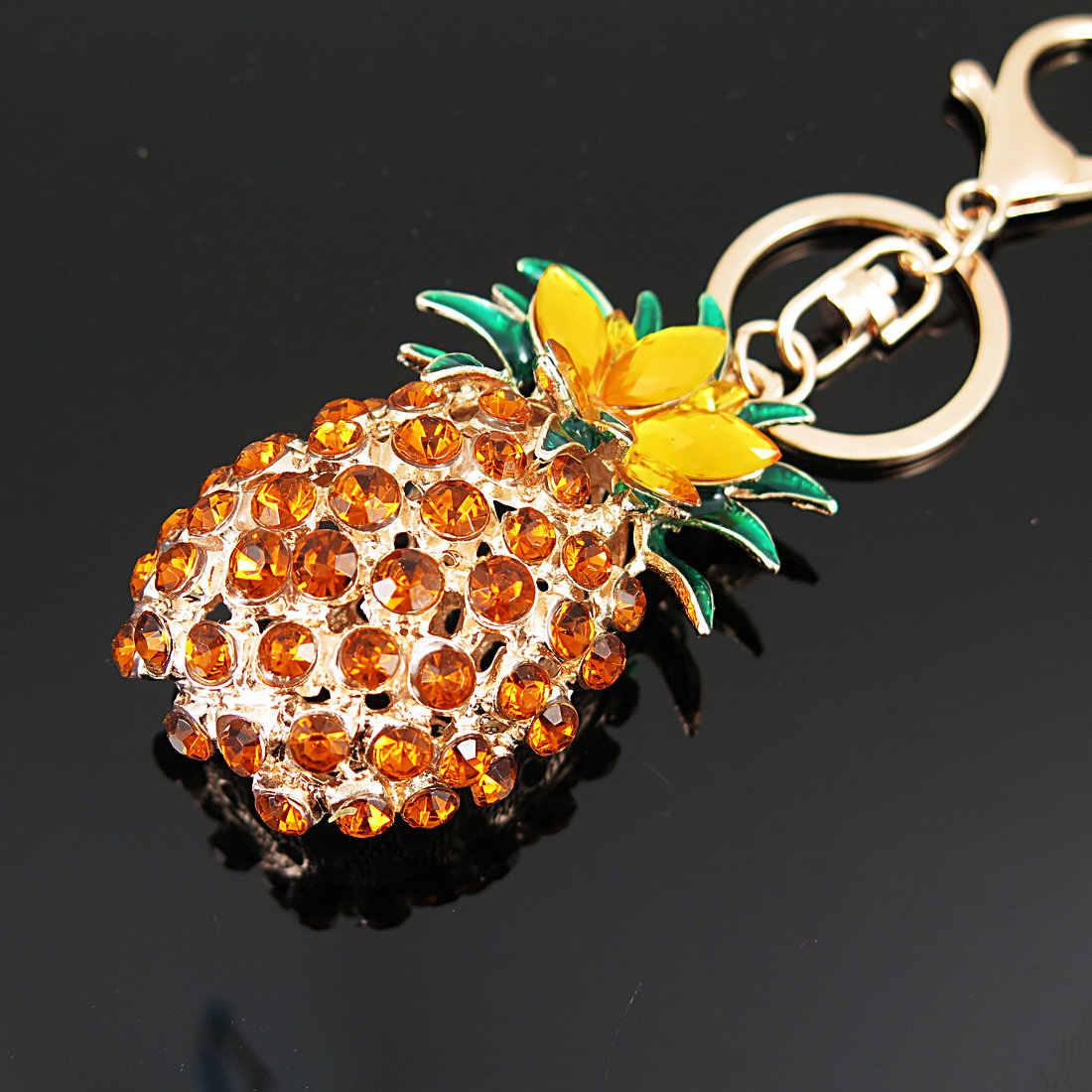 Tianbo moda cristal fruta grande abacaxi chaveiros para as mulheres saco pingente carro chaveiro titular jóias llaveros