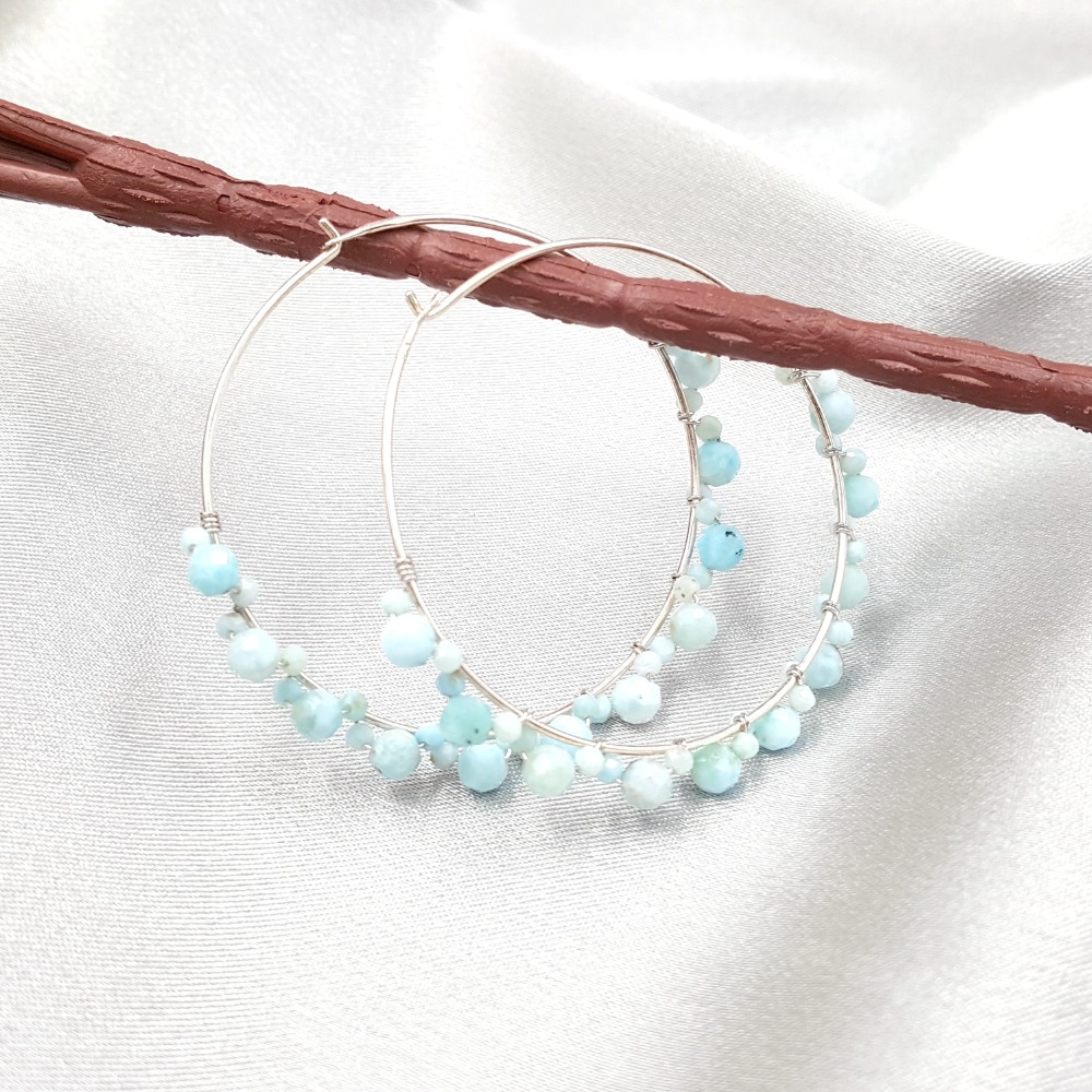 Lii Ji Natural Larimar Pyrite Rainbow Sapphire Labradorite Spinel 925 Sterling Silver 18K Gold Plated Big Hoop Earrings pair of gold plated polished big hoop earrings