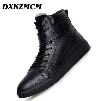 68bfca6d10c24a6 DXKZMCM Открытый мужские Ботинки Зимняя обувь Теплые ботильоны натуральная  кожа ручной работы мужские зимние сапоги