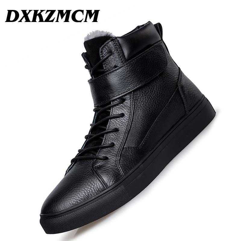 Dxkzmcm Outdoor Männer Stiefel Winter Schuhe Wärmsten Stiefeletten Aus Echtem Leder Handgemachte Männer Winter Schnee Stiefel