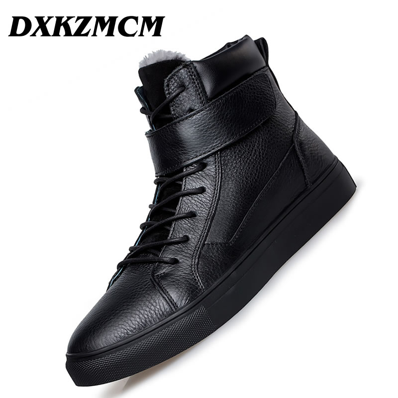 DXKZMCM Outdoor Men Boots Winter Shoes Warmest Ankle Boots Genuine Leather Handmade Men Winter Snow Boots