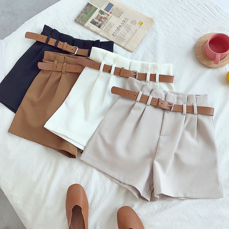 High Waist Shorts Women 2019 Fashion Solid  Wide Leg Short Pants Women With Belt Korean Brief Design Suit Shorts