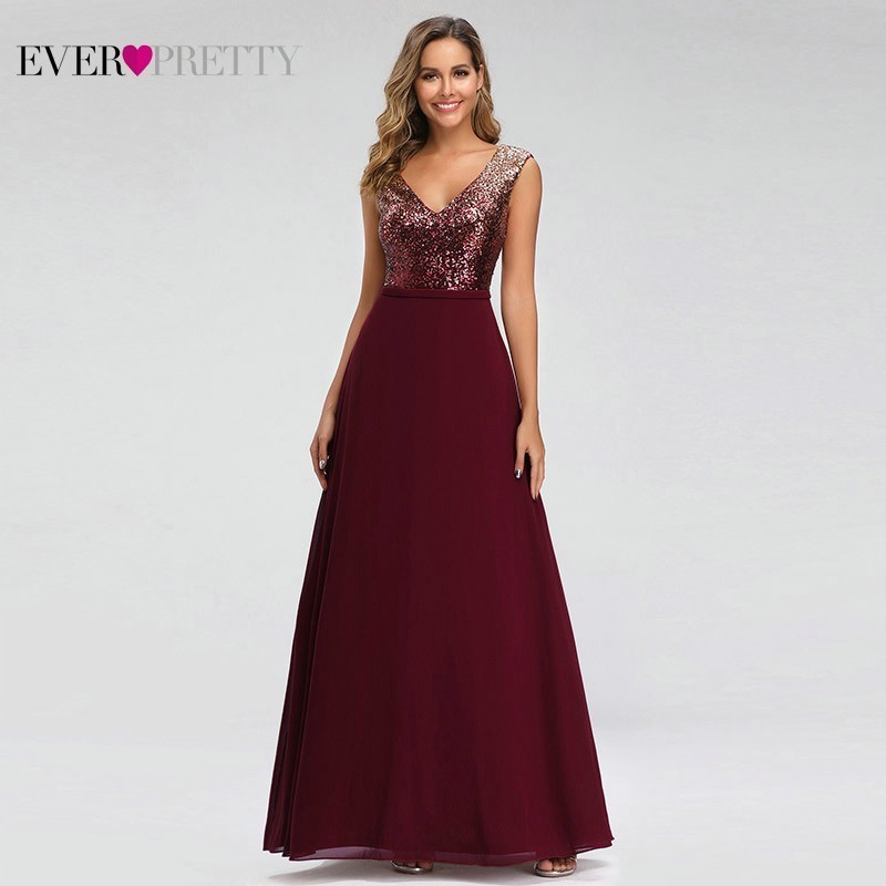 Sparkle Evening Dresses Long Ever Pretty EP00962BD Sequined A Line V Neck Sleeveless Burgundy Formal Dresses Robe De Soiree 2019
