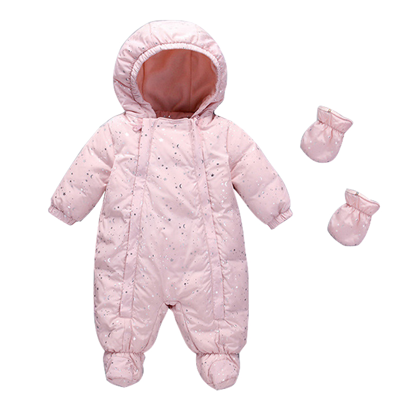 Winter Warm Baby duck down Rompers Infant Boy Thick Jumpsuit Baby Wear Girl Snowsuit Kid Newborn Clothes Foot romper +gloves купить в Москве 2019