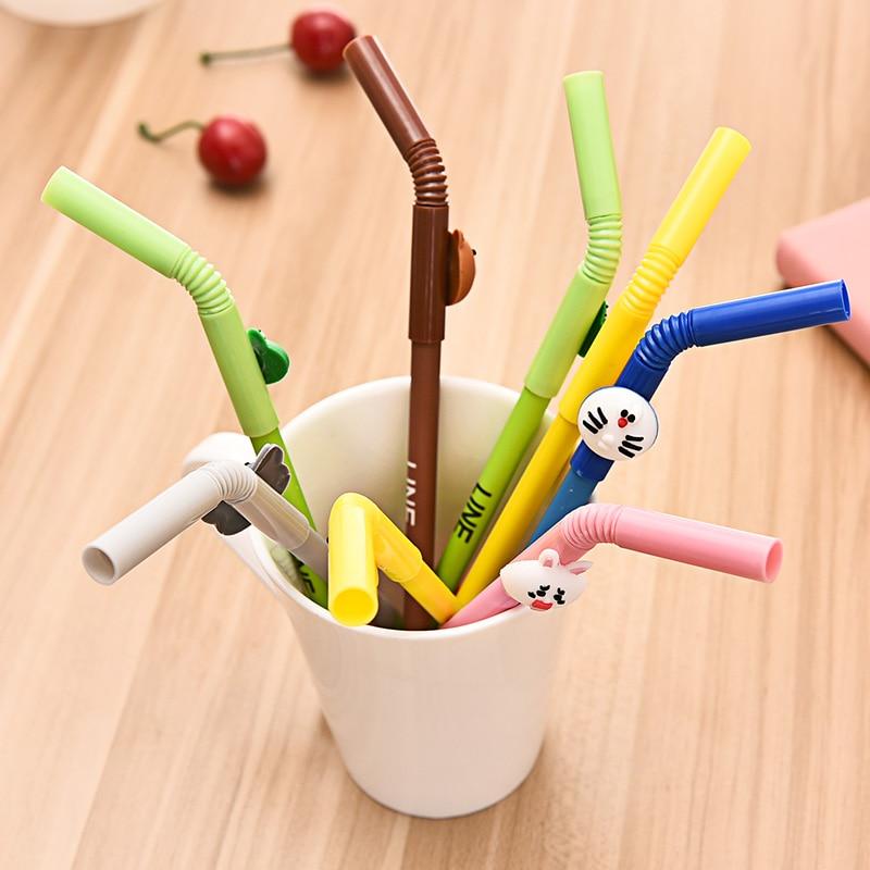 6 pcs/Lot Cartoon straw gel ink pen Cute Line friends Brown bear Doraemon Stationery Office School supplies lapices caneta