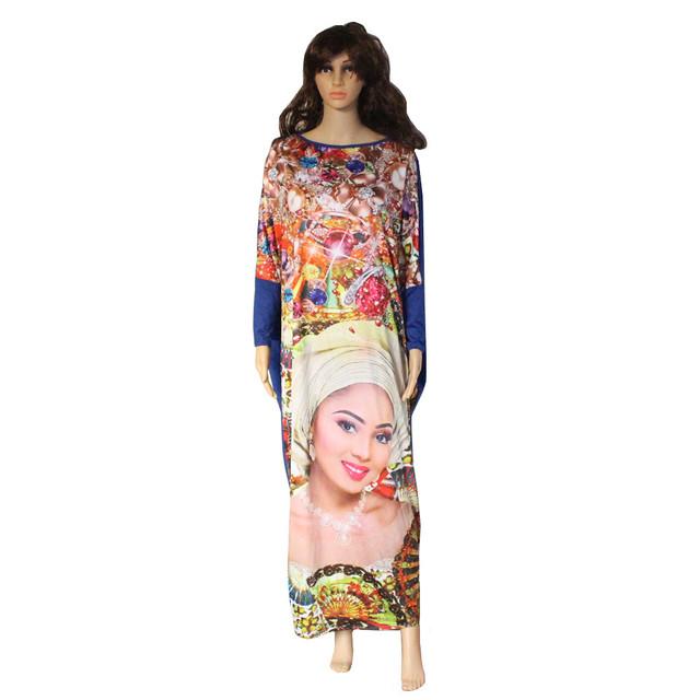 2017 Nova Casual Imprimir Vestidos de Manga Longa Padrão de Beleza Rosto leopardo mulheres maxi dress vestidos estilo africano mm de gordura solta dress