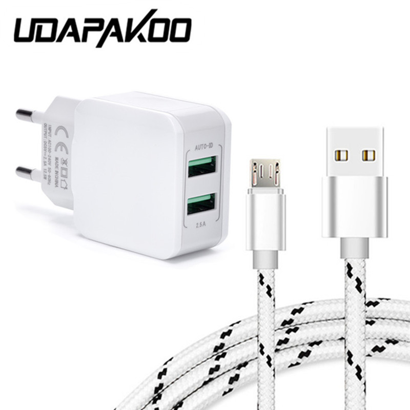 2 USB port Adapter + 1m metal shell micro usb fast Charger cable For samsung Galaxy s4 LG oukitel c8 DOOGEE Mix movil smartphone