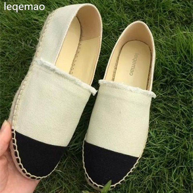 New Fashion Luxury High Quality Breathable Minimalist Thick Soles Women Flat Canvas Espadrilles Casual Loafers Shoes Size 34-42 luxury good quality new fashion women zipper jumpsuit slim fit skinny jeans rompers pocket denim jumpsuits size sexy girl casual