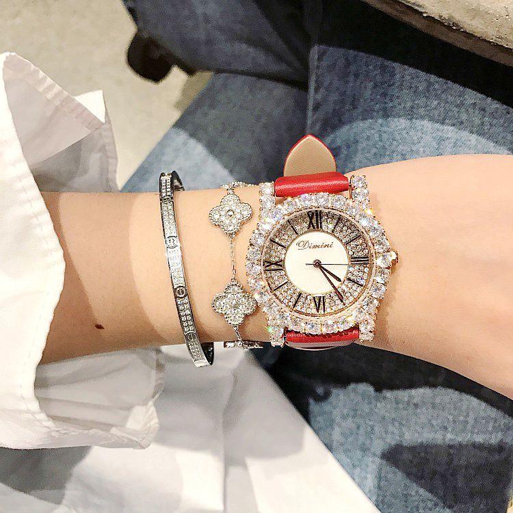 New Fashion Rose Gold Diamond Lady Watch Women New Rhinestone Dress Watches Luxury Leather Strap Women Quartz Watches - 4
