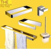 5PCS Brass bath hardware bathroom accessories set towel rack towel bar toilet brush towel ring paper holder cloth hook