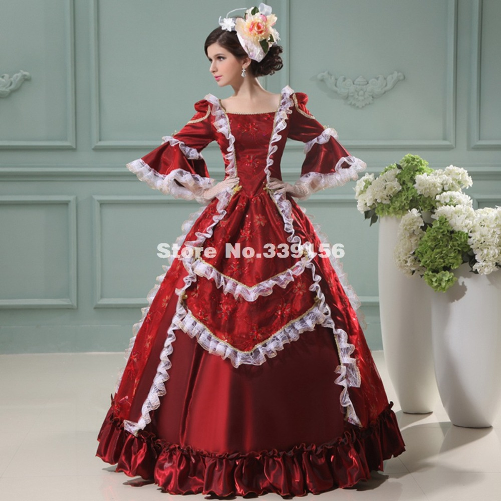 Wine Red Gothic Marie Antinette Princess Elegant Long Party Dress Palace Halloween Carnival Renaissance Period Costumes Women