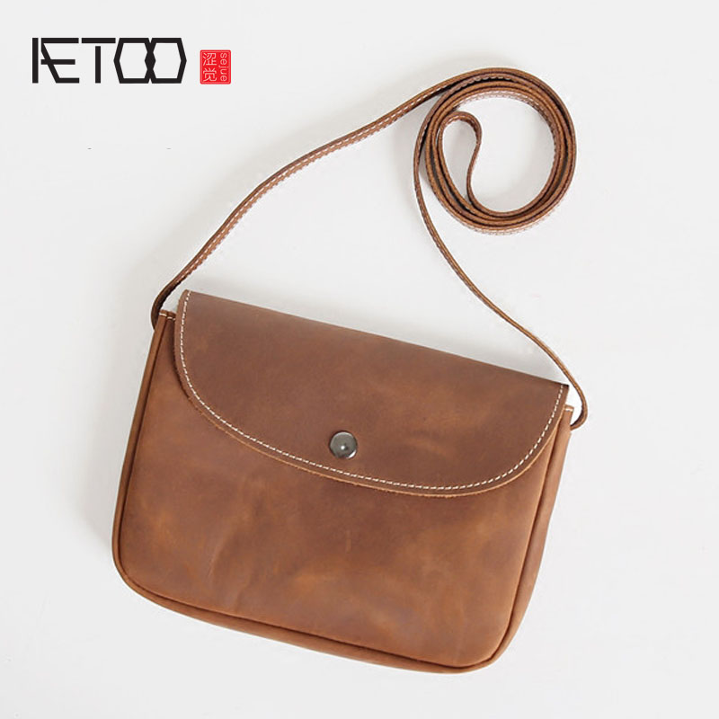 AETOO Nostalgic style retro pure head layer of leather mini Messenger bag ladies leather bag shoulder bag mobile phone bag