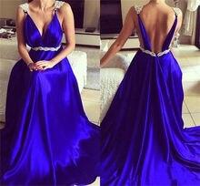 Royal Blue Elegant V Neck prom dress Backless Party Formal Dress Evening Gowns