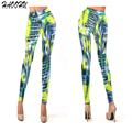 2016 Women Geometric Pants Fitness Plus Size Stretch Digital Striped Tight Fashion Skinny Pencil Pants 92331 DX