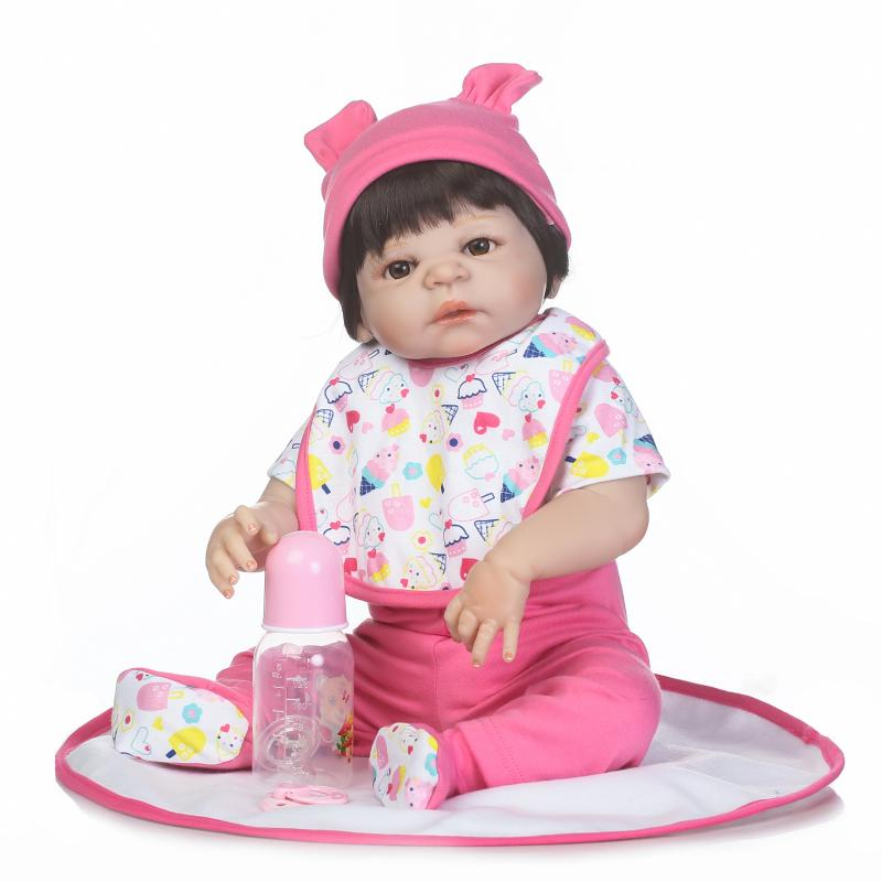 2017 New 22inch 55cm full vinyl babydoll with wig hair girl gender doll soft real touch toys and gift for childen new full vinyl american girl 18 inch play dolls with brown long hair adora doll for kids toys children gift