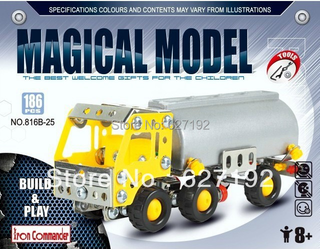 2015 Rushed New Arrival Unisex Playmobil Casa Diy Alloy Metal Assembling 3d Gas Tank Truck Combination Toy Building Blocks Toys