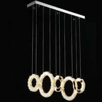 Modern Chrome Chandelier Crystal Diamond Ring LED Lamp Circle Lights Stainless Steel Hanging Light Fixtures Lighting