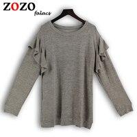Falacs Zozo Autumn Winter Casual Women Fashion Streetwear Preppy Style Sweaters Ruffles Butterfly Sleeve Gray Pullovers