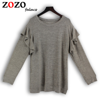 Falacs Zozo Autumn Winter Casual Women Fashion Streetwear Preppy Style Sweaters Ruffles Butterfly Sleeve Gray Pullovers