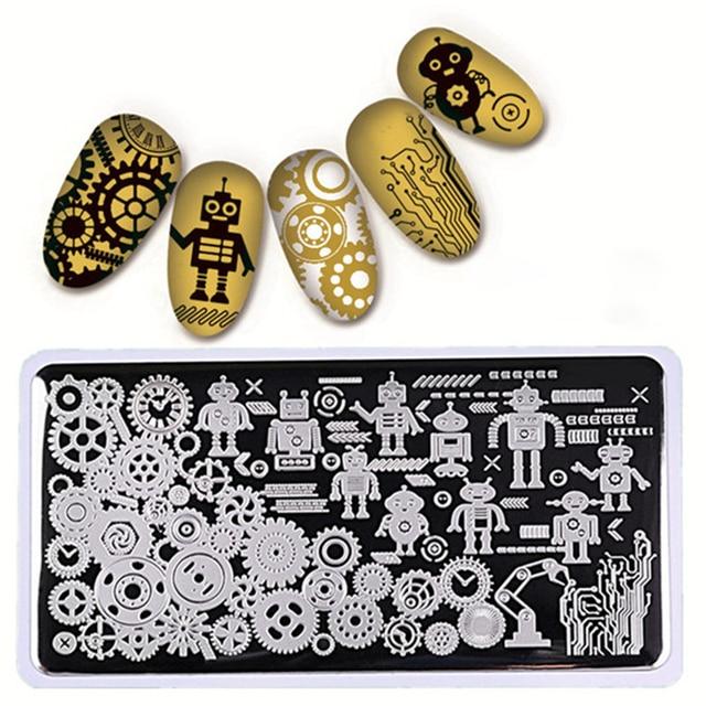 1Pc Nail Art Stamping Plates Lace Robot Design Nail Stamp Stamping ...