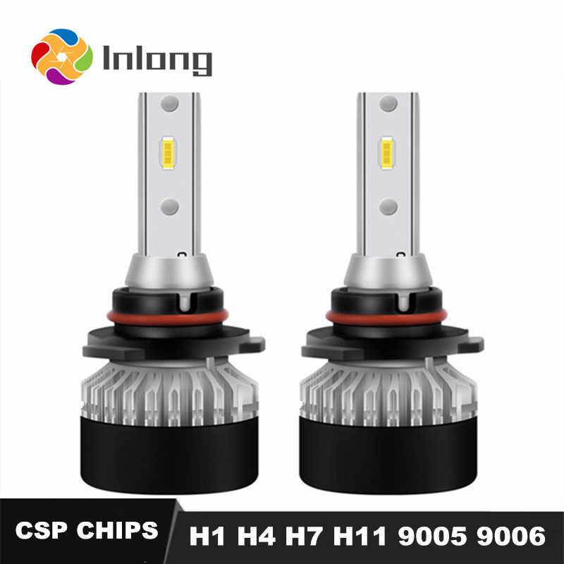 Inlong 2Pcs With CSP-1860 Mini Size H1 LED H4 10000LM H7 H9 H8 H11 9005 9006 HB4 HB3 Car Headlight Bulbs 6000K Fog Light 12V 24V