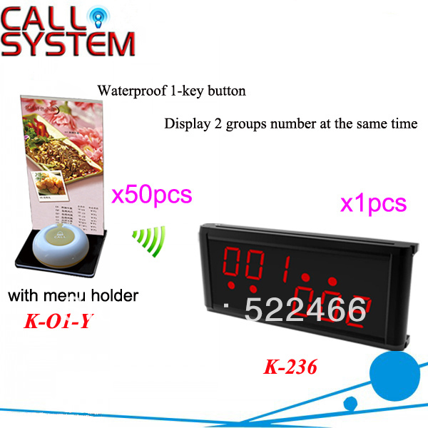 Wireless Waiter Call System K-236+O1-Y+H for restaurant with 1-key button with menu holder and display DHL free Shipping