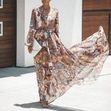 Women Fashion Print Long Dress Long Sleeve Boho Sexy Big Swing High Waist Lace Up Plus Size Spring Ladies Holiday Maxi Dresses недорого