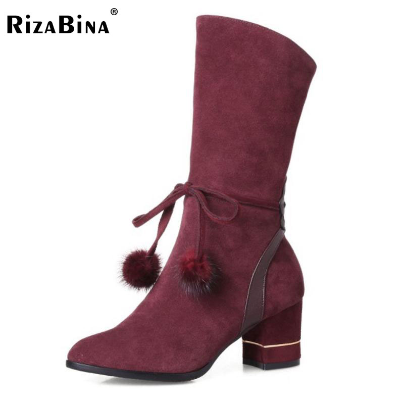 RizaBina Size 34-43 Warm Winter Shoes Women Thick High Heel Mid Calf Winter Boots For Women Zip Pompon Pointed Toe Sexy Botas 2018 new vintage mid calf women boots square thick high heels pointed toe martin boots genuine leather winter shoes for women