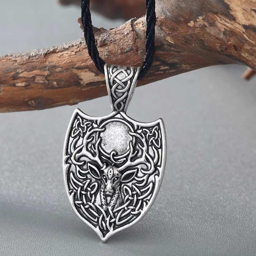 QIMING legendarny Viking Aegishjalmur Amulet naszyjnik duże podwójne Deer Sekira Viking Nordic talizman Punk naszyjnik