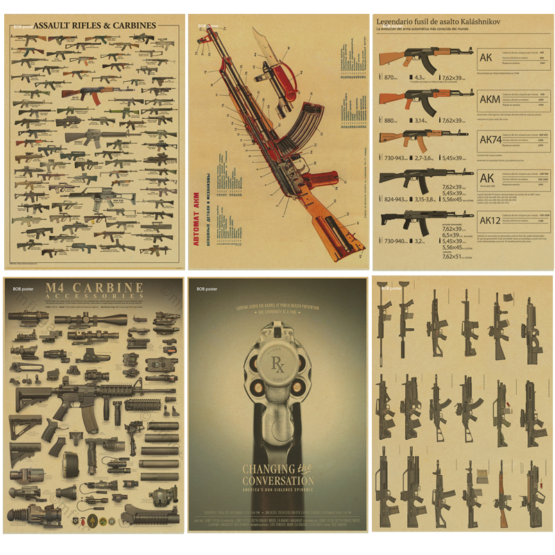 The AK74/47 Gun Posters / military fans Vintage Poster kraft paper ...