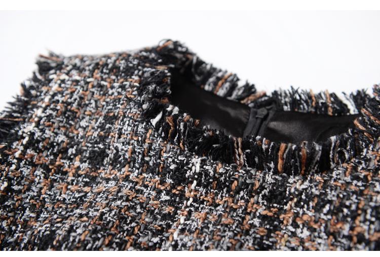 HTB1AZCANXXXXXciapXXq6xXFXXXf - Luxury Brand Women's Tweed Sleeveless Plaid Dress 2018 Winter or Spring Elegant Round Neck Slim A-Line Based Dress