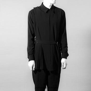 2018  Original character men's shirt black and black fold trend dress code men's coat singer's clothing  S-6XL