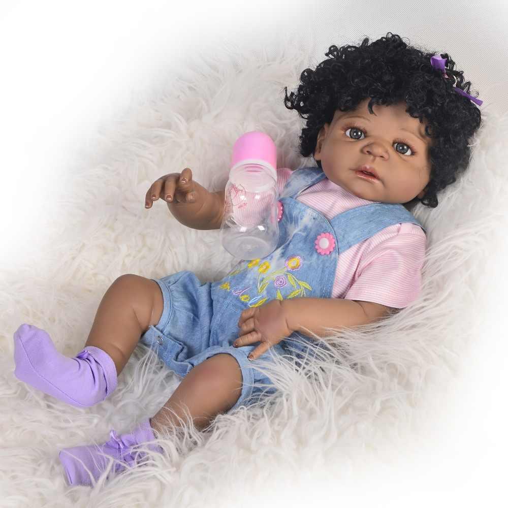 """Bebes reborn dolls черная кожа кудрявые волосы полностью силиконовые reborn baby dolls девушка тело 22 """"настоящий живой reborn bonecas"""