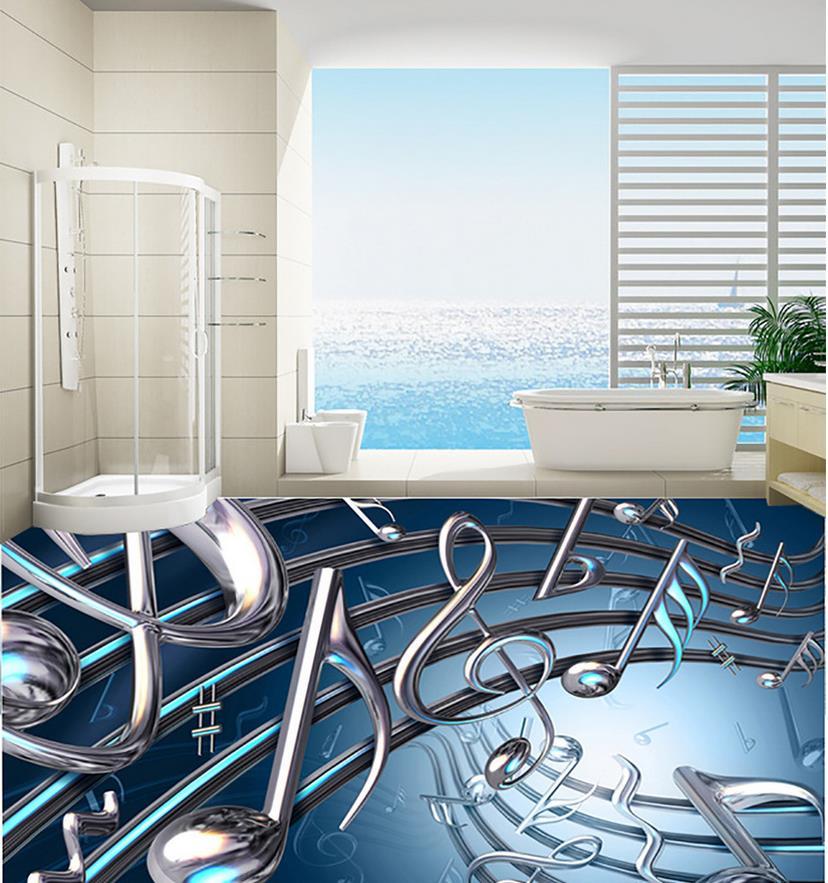 3d Floor Painting Wallpaper Musical Note 3D Waterproof