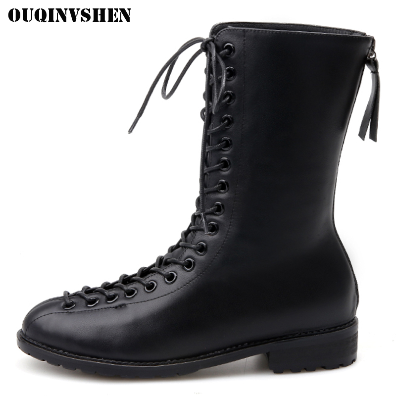 OUQINVSHEN Square Toe Low Heel Women Boots Cross Tied Zipper Women Ankle Boots New Winter Square heel Fashion Ladies Boots Shoes berdecia hollow out ankle round toe women boots low square heels cross tied female shoes elegant riding equeatrian women boots