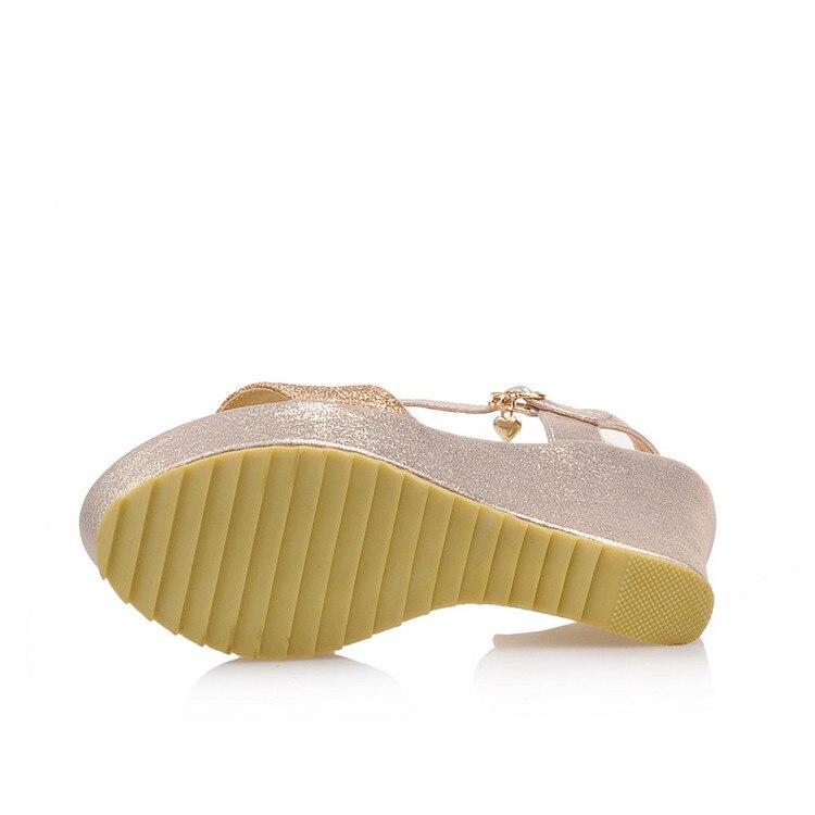 Or Talons 43 Argent forme Pxelena Bling Élégant 2018 Taille Plus D'été Paillettes Femmes Plate La Or Sandales argent Wedge Chaussures Mariage Mariée Hauts qrzw7ORSq