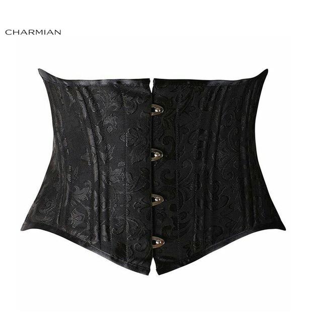 85b8d288e42b4 Charmian Women s Plus Size Short Torso Underbust Corset Retro Black Spiral Steel  Boned Bustiers Shapewear Waist Trainer